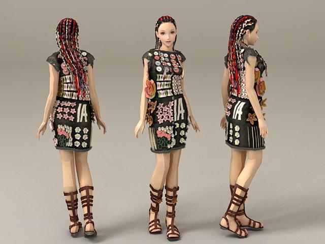 Cool Scene Girl 3d model