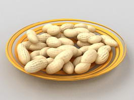 Shelled Peanuts on Plate 3d model