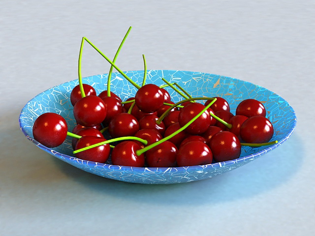 Sweet Cherry on Plate 3d model