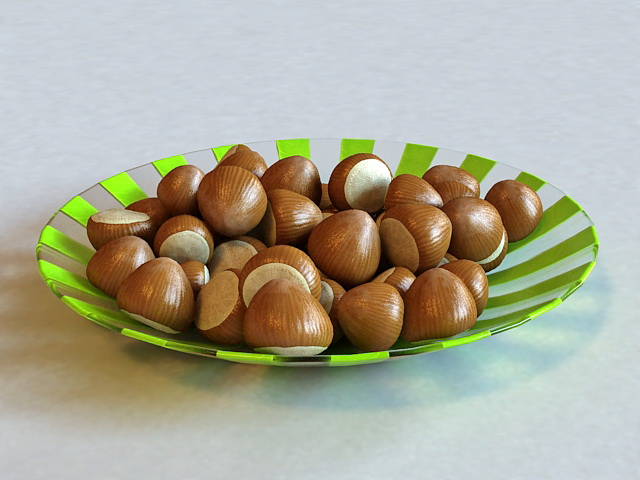 Chestnuts on Plate 3d model