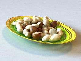 Peanuts and Chestnuts on Plate 3d model