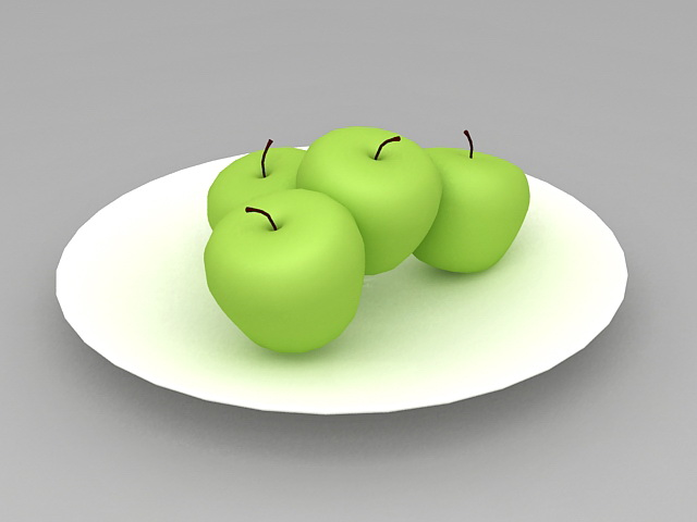 Green Apples on Plate 3d model