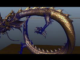 Golden Chinese Dragon Animated & Rigged 3d model