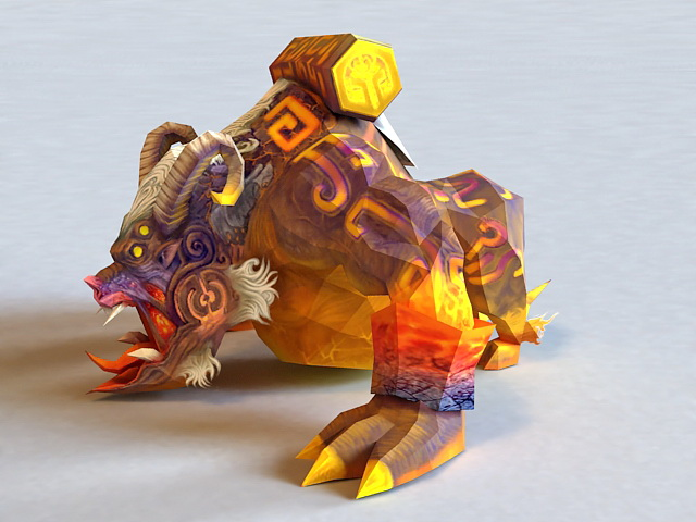 Chinese Mythical Taotie Monster 3d rendering