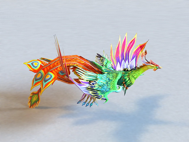Animated Rainbow Phoenix 3d Model 3ds Max Files Free