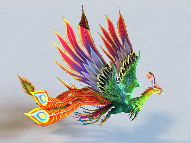 Animated Rainbow Phoenix 3d model
