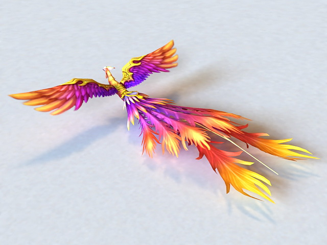 Colorful Phoenix Bird 3d model