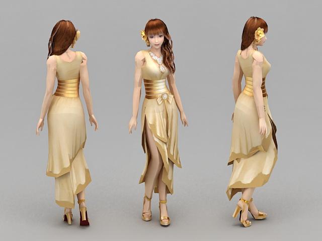 Girl Formal Dresses 3d model