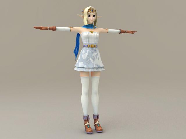 Anime Princess Girl 3d model