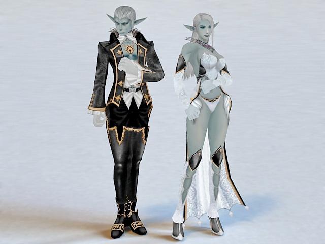 Elven Couple 3d model