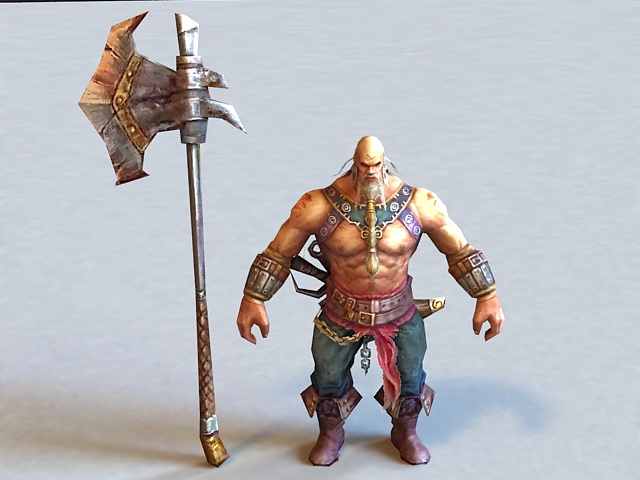 Fighting Warrior with Axe 3d model