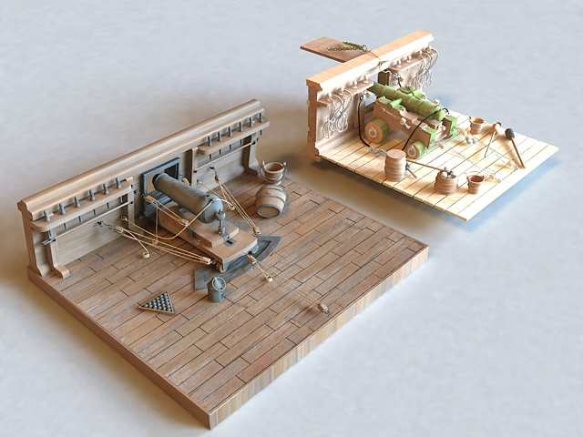 18th Century Cannon Deck 3d model