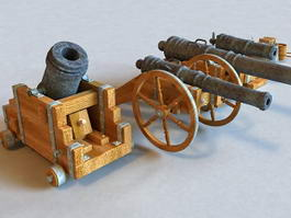 Antique Military Cannons 3d model