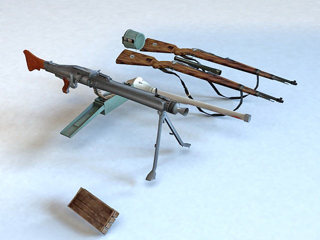 Guns Firearms Weapon Collection 3d model