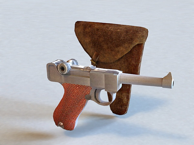 Pistol and Holster 3d model