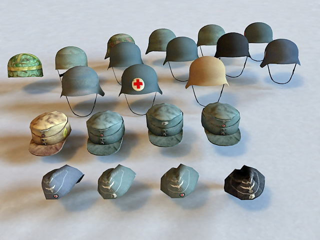 Military Helmets and Hats 3d model