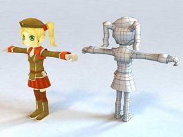 Girl Cartoon Character 3d model