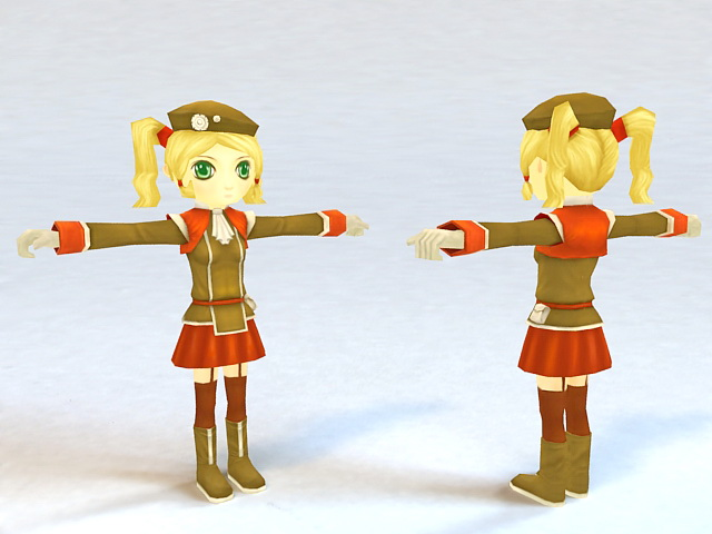 Girl Cartoon Character 3d model
