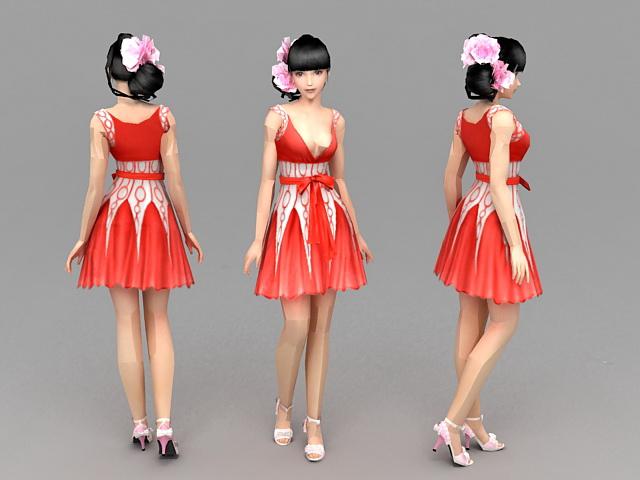 Summer Girl 3d model