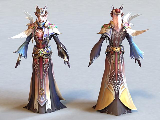 Male Elf Cleric 3d model