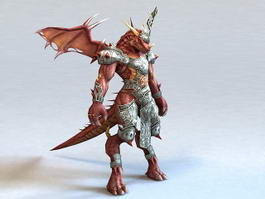Red Dragonkin Warrior 3d model