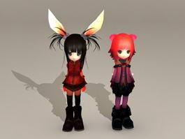 Cute Anime Girls 3d model
