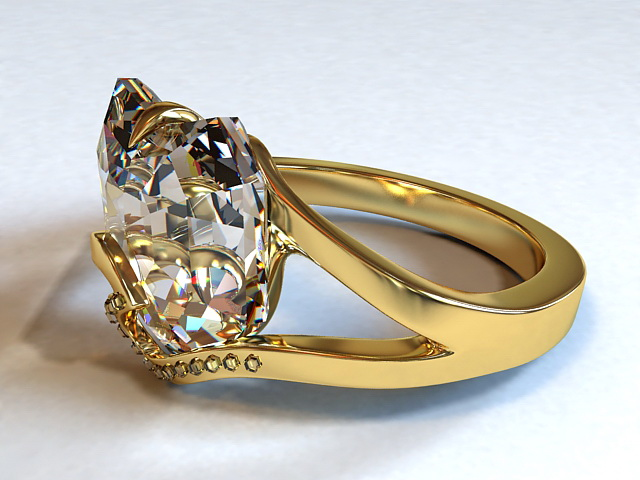 Diamond & Gold Ring 3d model 3D Studio 3ds Max files free