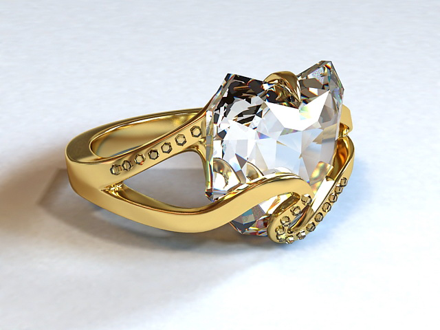 Diamond & Gold Ring 3d model