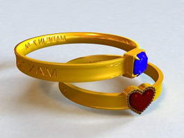 Antique Couple Rings 3d model