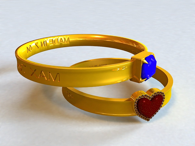 Antique Couple Rings 3d model
