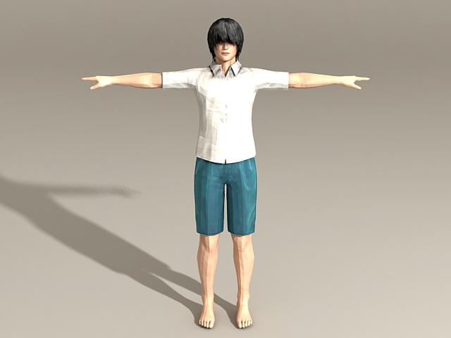 Casual Asian Man 3d model