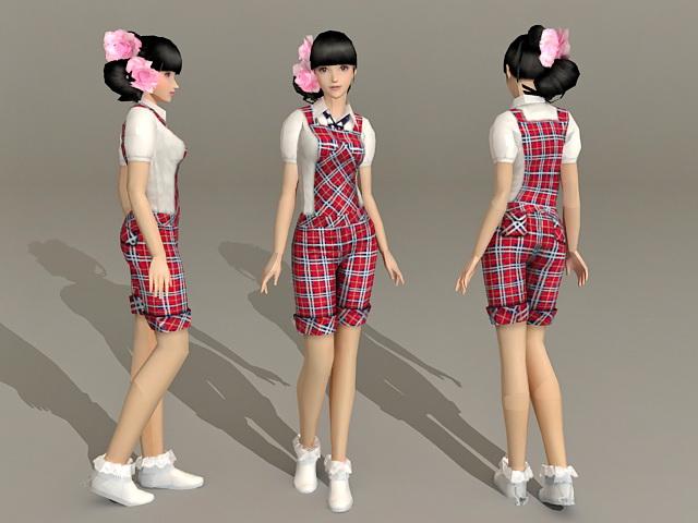 Beautiful Young Asian Girl 3d model