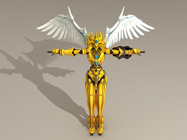 Golden Warrior Angel 3d model