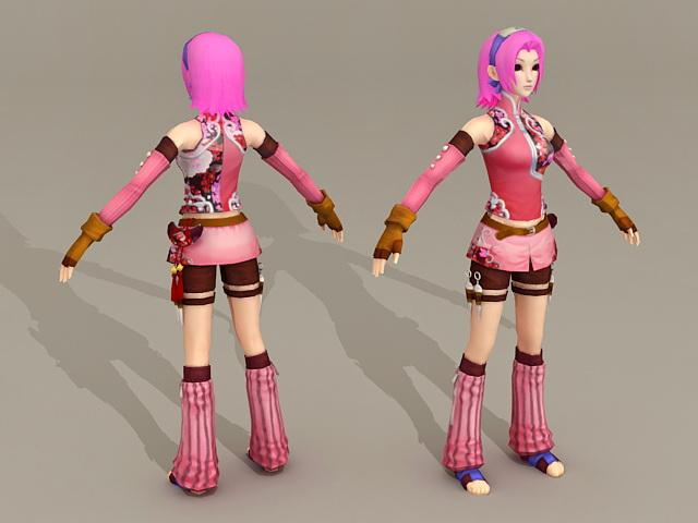 Manga Anime Warrior Girl 3d model