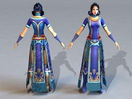 Beautiful Medieval Girl 3d model