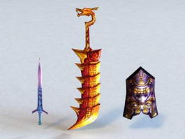 Fantasy Swords and Shield 3d model
