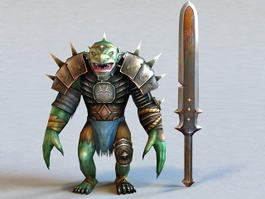Troll Warrior and Swords 3d model
