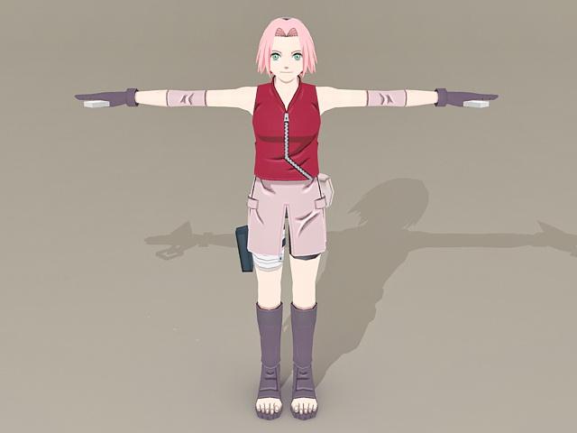 Naruto Character Sakura Haruno 3d Model 3ds Max Object