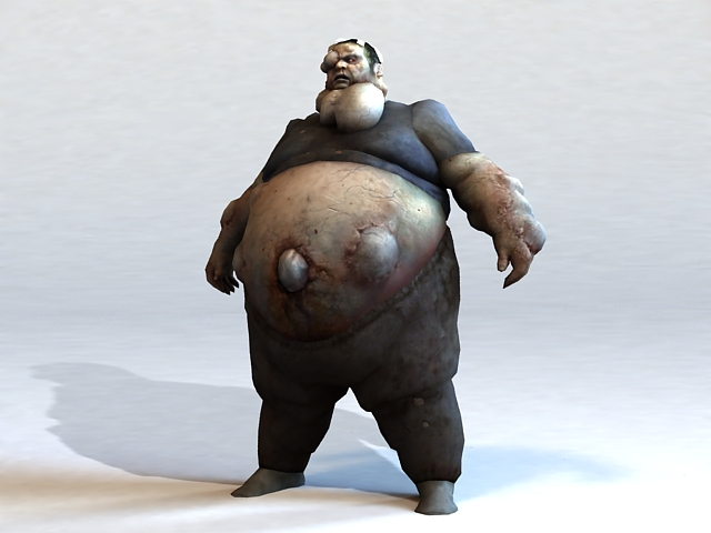 Fat Zombie 3d Model 3ds Max Files Free Download Modeling