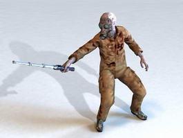Zombie with baton 3d model