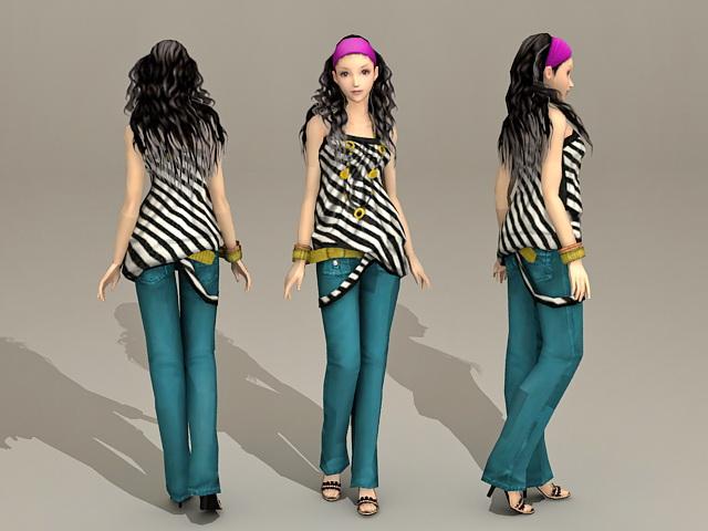 Asian Fashion Girl 3d model