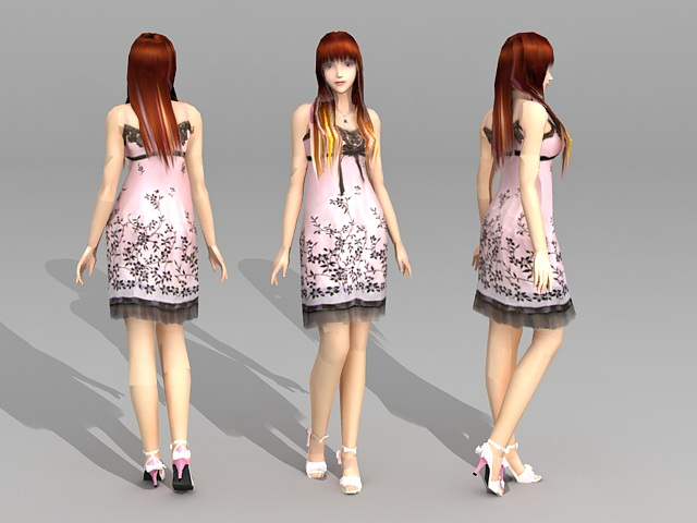 Beautiful Asian Woman 3d model