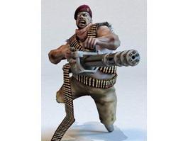 Minigun Soldier 3d model