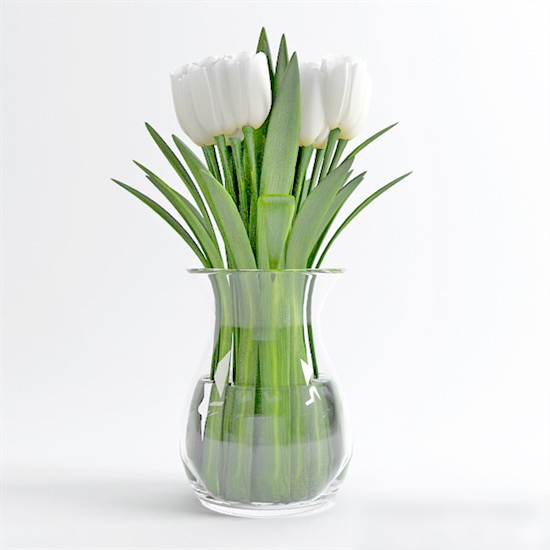 White Flower Arrangement Vase 3d model