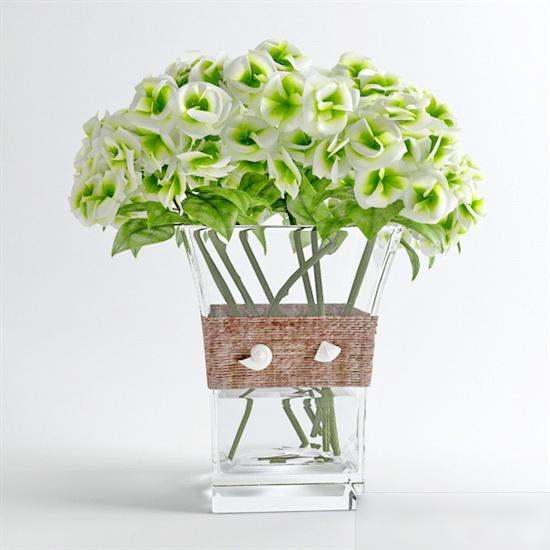Glass Vase Flower Arrangement 3d model