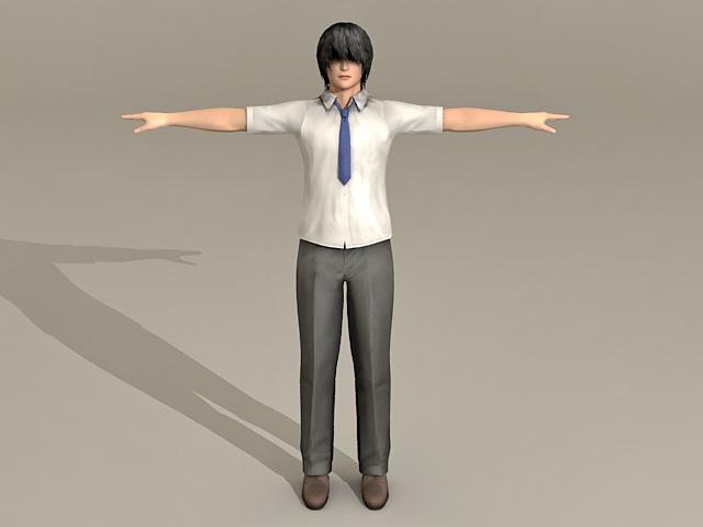 Emo Japanese Guy 3d model