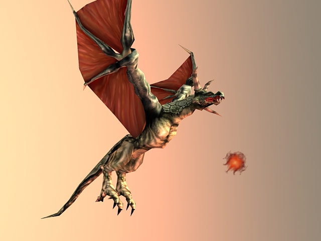Flying Red Dragon Animated & Rigged 3d model