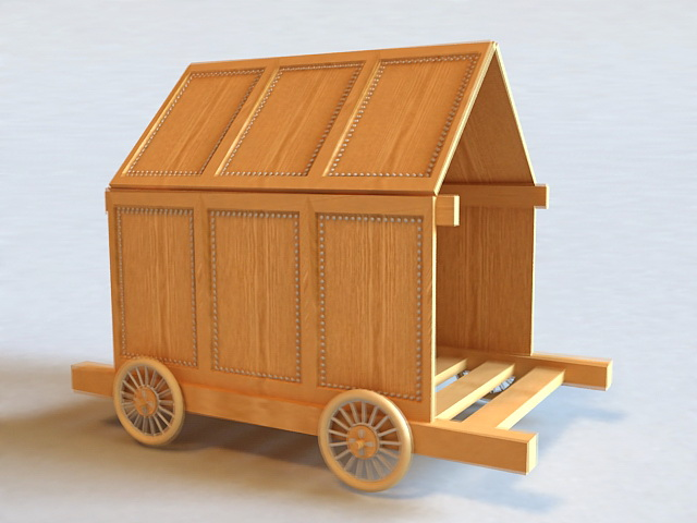 Wooden Carriage 3d model