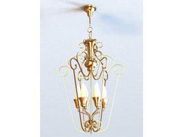 Art Deco Brass Chandelier 3d model