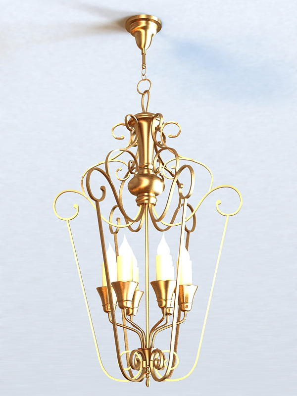 Art Deco Brass Chandelier 3d model